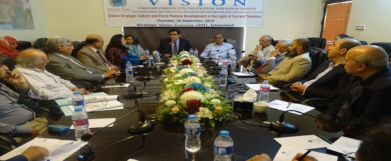 """Report on SVI Monthly In-House Seminar 29 September 2016 on """"Indian Strategic Culture and Force Posture Development in the Light of Current Tension """""""