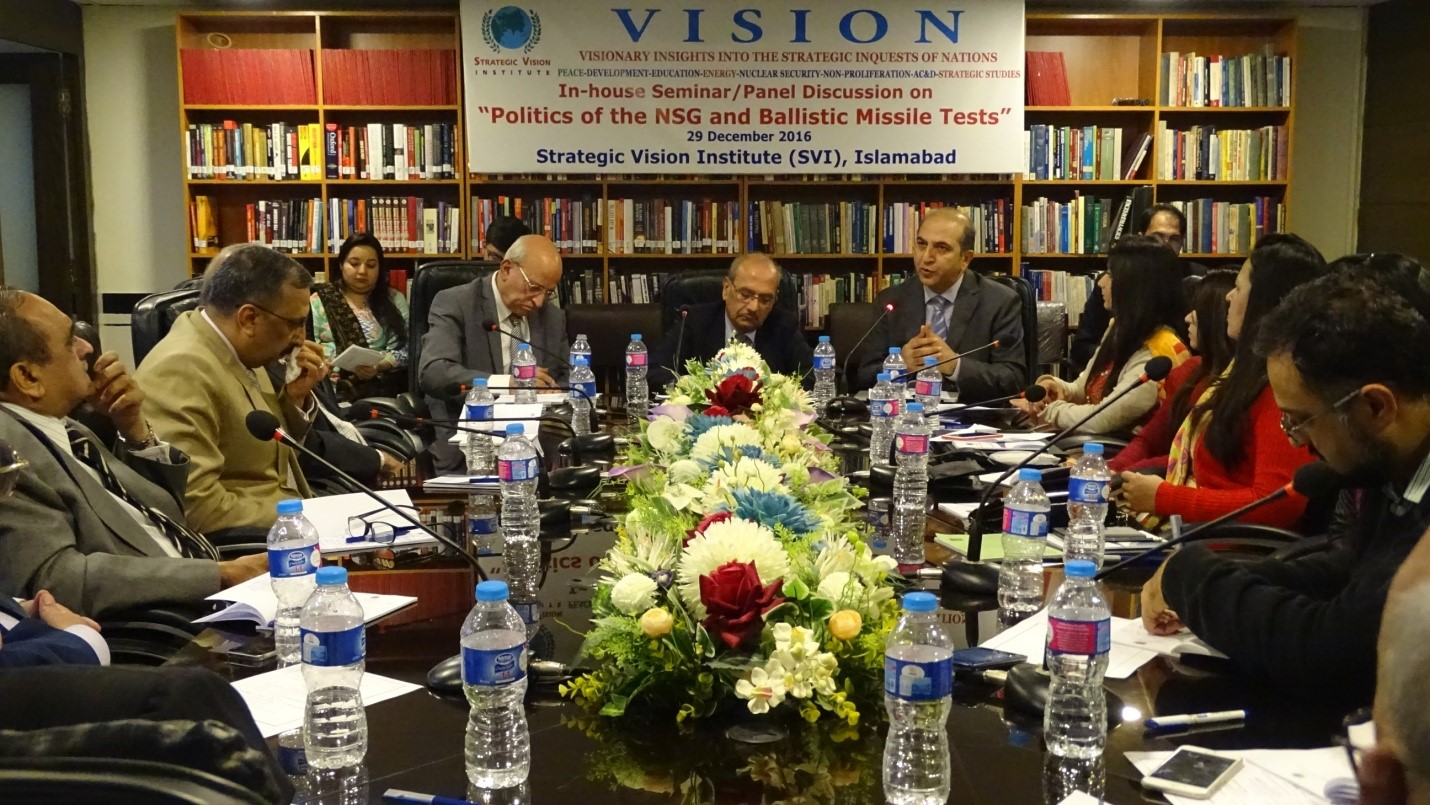 """In-House Seminar/Panel Discussion Report on """"Politics of NSG and Ballistic Missile Tests"""" – December 29, 2016"""