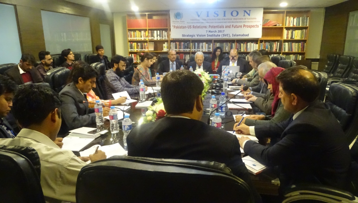 """SVI In-House Seminar/Panel Discussion March 7, 2017: Report  """"Pakistan-US Relations: Potentials & Future Prospects"""""""