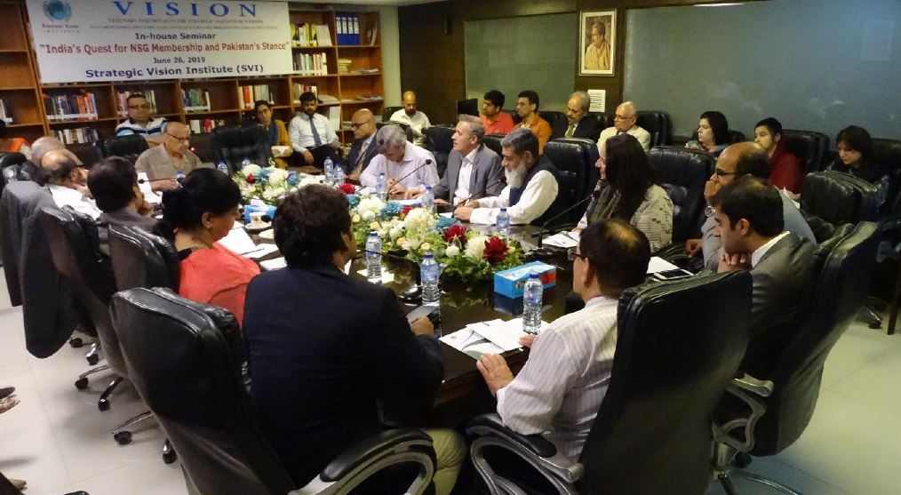 SVI In-house Seminar/Panel Discussion: Report – 26thJune 2019  India's Quest for NSG Membership and Pakistan's Stance