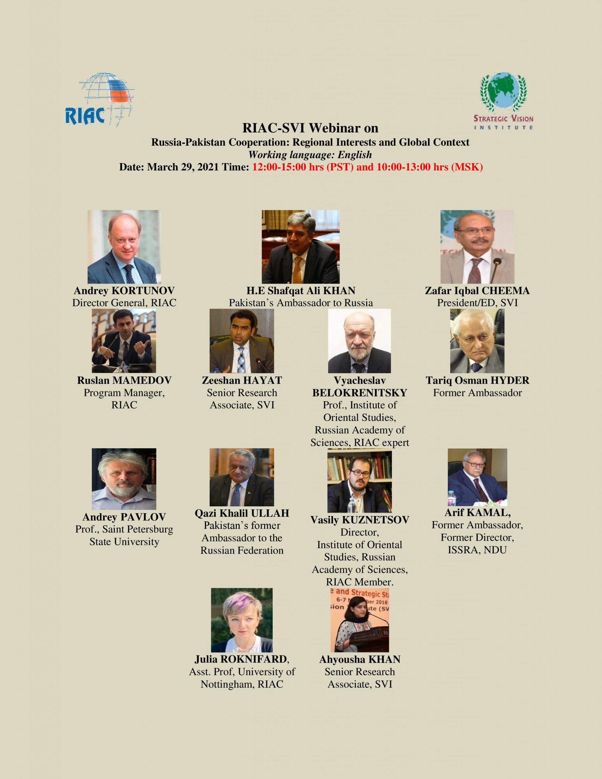 """SVI Webinar on""""The SVI- RIAC: Russia-Pakistan Cooperation: Regional Interests and Global Context"""". Published in APP"""