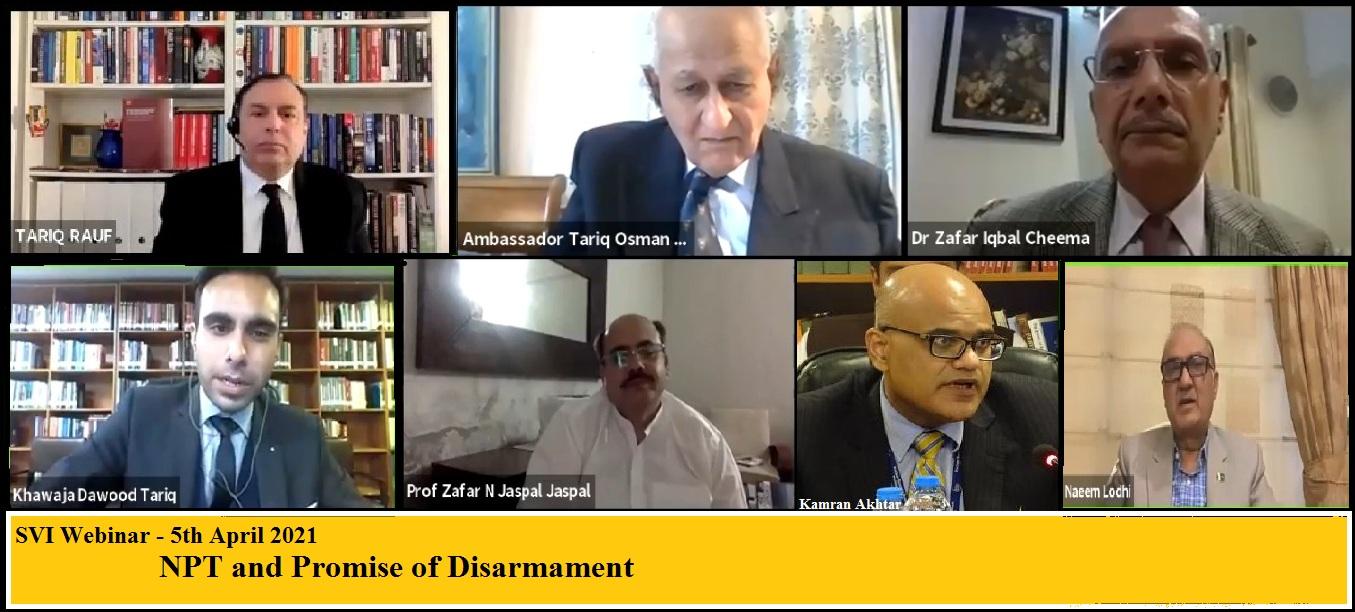 Webinar on NPT and Promise of Disarmament